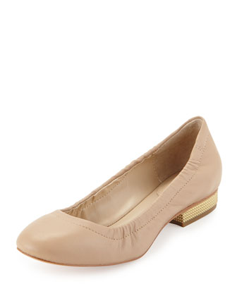 Leather Spiked-Heel Flat, Beige