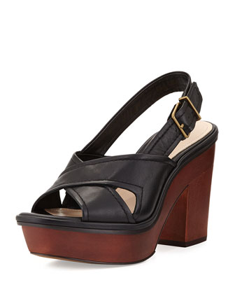 Pabla Slingback Leather Platform Sandal, Black