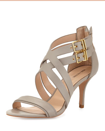 Que Layered Double-Buckle Sandal, Steel