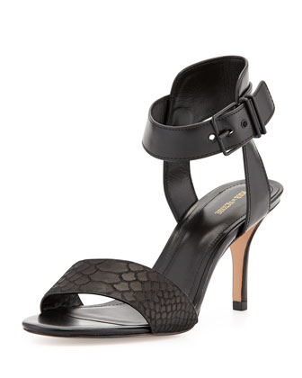 Quin Leather Ankle-Wrap Sandal, Black