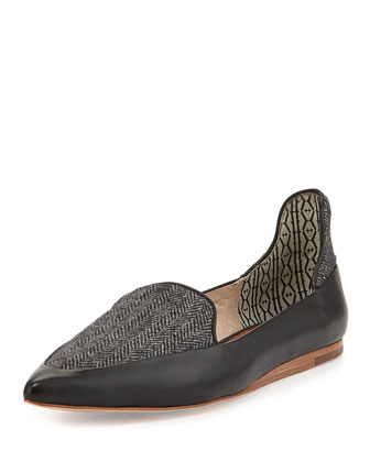 Herringbone Combo Pointy-Toe Flat, Black