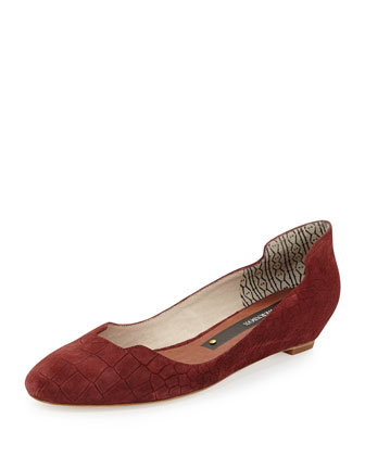 Croc-Embossed Notched Ballet Flat, Burgundy