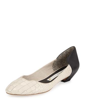 Croc-Embossed Contrast Ballet Flat, Black/White