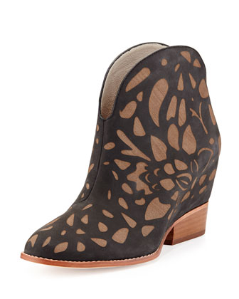 Flores Two-Tone Bootie, Black/Brown