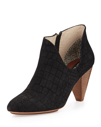 Jagguar Croc-Embossed Leather Cutout Bootie, Black