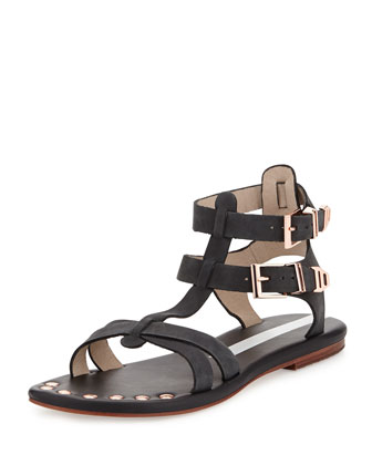 KM Crisscross Studded Gladiator Sandals, Black