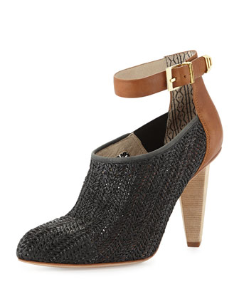 Saint Honore Raffia Ankle-Strap Pump
