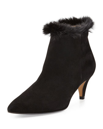 Shelby Faux-Fur Ankle Boot, Black
