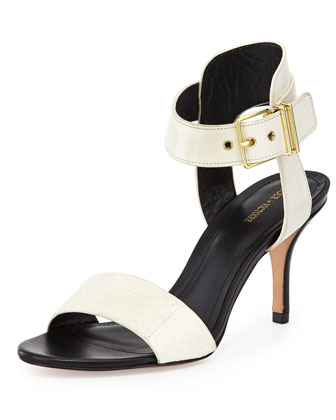 Single Band Snakeskin & Leather Sandal, White