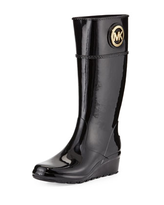 Stockard Rubber Wedge Rain Boot, Black