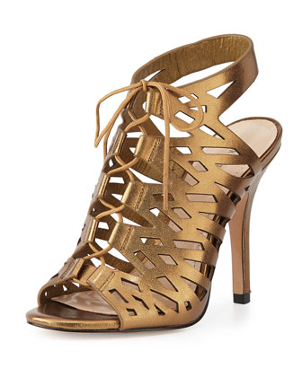 Laser-Cut Metallic Leather Sandal, Brass