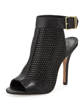 York Woven Leather Bootie, Black