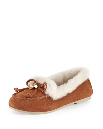 Cori Fur-Lined Suede Moccasin, Luggage