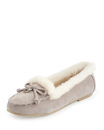 Cori Shearling-Lined Moccasin, Pearl Gray