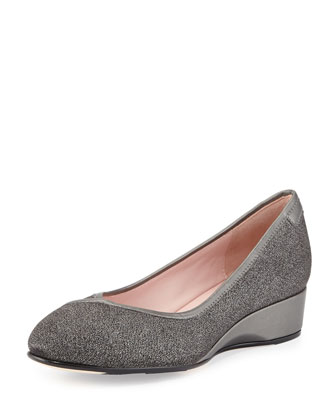 Felicity Metallic Ballerina Wedge Pump, Pewter