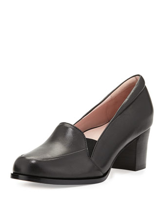 Gwenn Leather Loafer Pump, Black