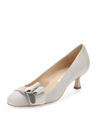 Louisa Suede Bow-Top Pump, Silver