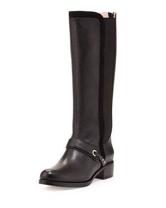 Shani Leather Stretch Knee Boot, Black