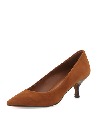 Rome Suede Low-Heel Pump, Tan