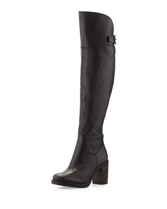 Tarina Leather Over-the-Knee Boot, Black