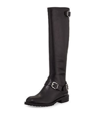 Vive Buckled Knee Boot, Black
