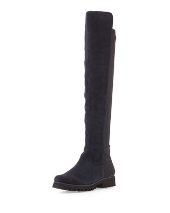 Roz Suede Stretch-Back Boot, Navy