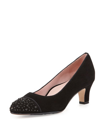 Trulie Crystal-Toe Suede Pump