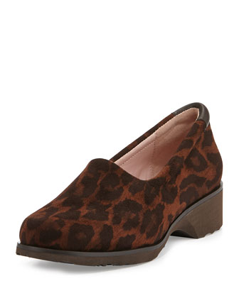 Tutu Animal-Print Suede Slip-On, Brown Multi