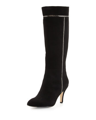 Treyes Suede Knee Boot with Chain Detail, Black