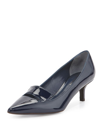 Baily Patent Loafer Pump, Indigo
