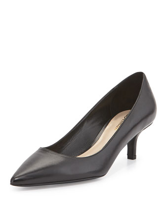 Belle Leather Low-Heel Pump, Black