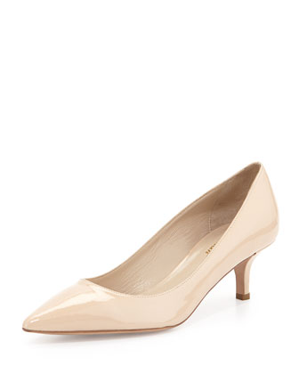 Belle Patent Low-Heel Pump, Nude