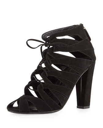 Darci Suede Lace-Up Bootie, Black
