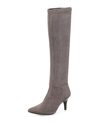 Lilia Pointy-Toe Mid-Heel Suede Boot, Fog