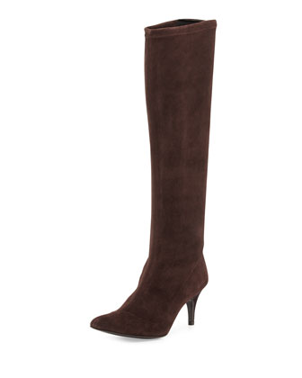 Lilia Pointy-Toe Mid-Heel Suede Boot, Dark Brown