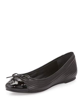 Rise Quilted Cap-Toe Ballerina Flat, Black