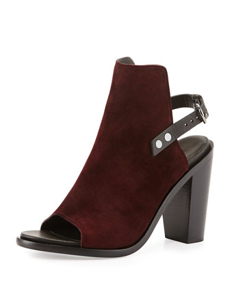 Wyatt Suede Open-Toe Back-Strap Bootie, Bordeaux