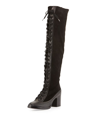 Action Lace-Up Combo Knee Boot, Black