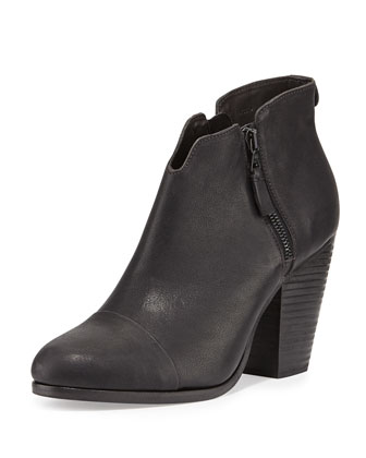 Margot Leather Zip Bootie, Black