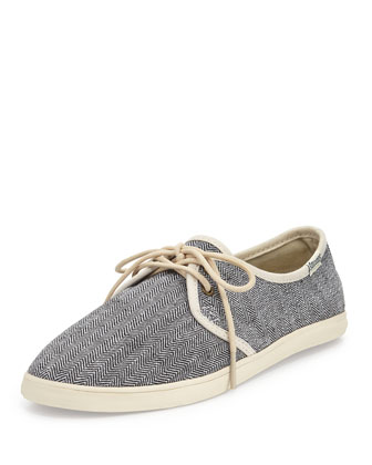 Lace-Up Herringbone Canvas Sneaker, Black