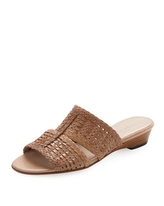 Galen Woven Leather Slide Sandal, Natural