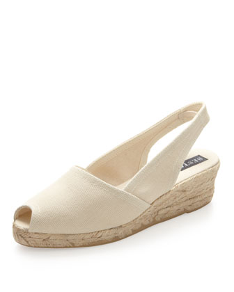 Pique Espadrille Wedge Slingback, Taupe