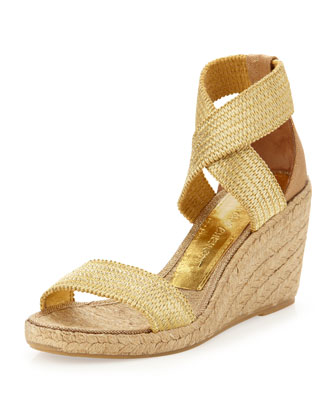 Pamela Stretch Wedge Sandal, Gold