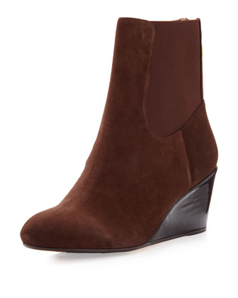 Kuri Suede Wedge Bootie, Chocolate