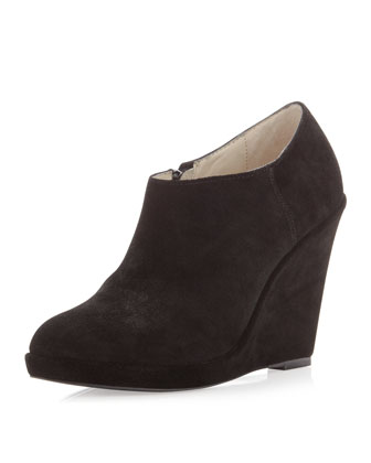 Gina Suede Wedge Bootie, Black
