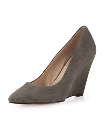 Maia Nubuck Wedge Pump, Charcoal
