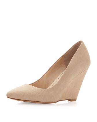 Maia Wedge Pointed Toe Pump, Beige