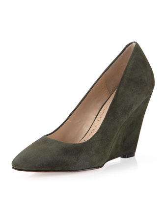 Maia Suede Wedge Pump, Army