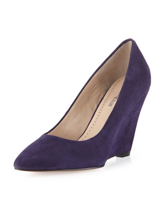 Maia Suede Wedge Pump, Plum