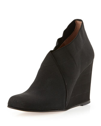 Zaria Surplice Wedge Bootie, Black